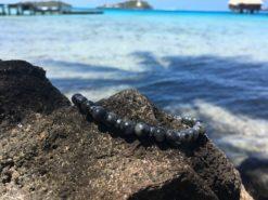 Bracelet mixte en pierre naturelle de Labradorite noire