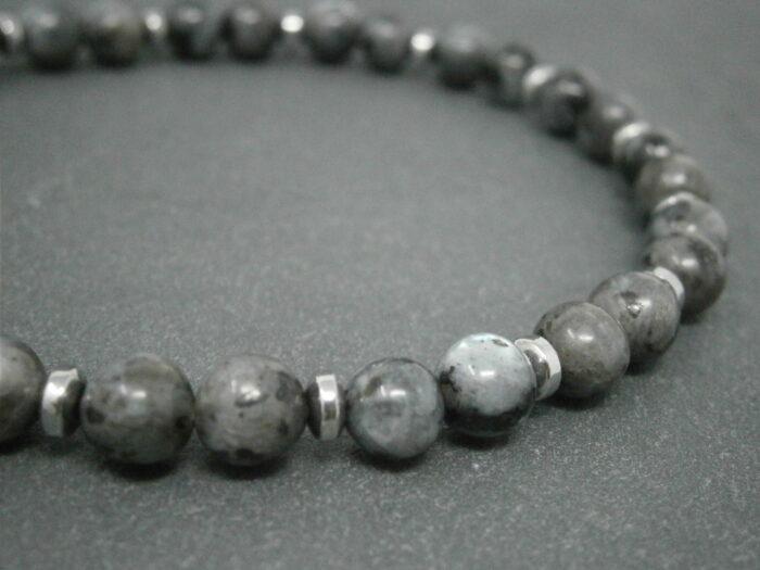 Bracelet Homme Larvikite et hématite
