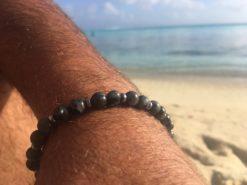 Bracelet mixte en pierre de Labradorite noire