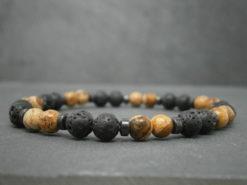 Bracelet pour Homme en pierre de lave et jaspe paysage pierre paysage