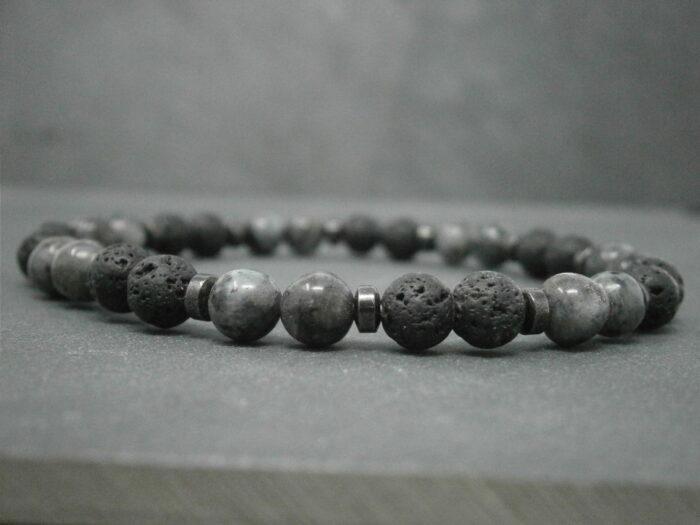 Bracelet pour homme Lave-larvikite-hématite