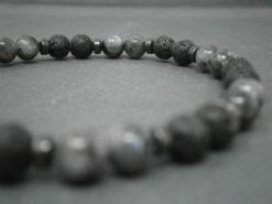 Bracelet pour homme en pierre de lave et pierres de labradorite