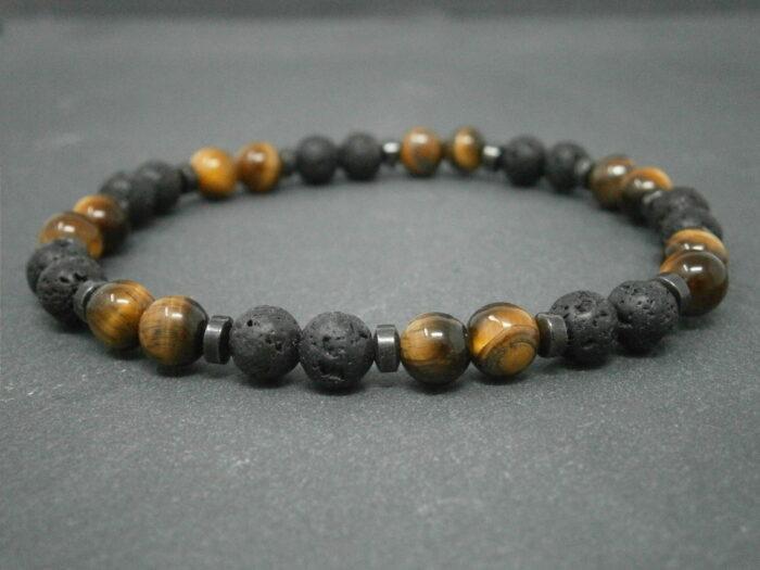 Bracelet pour Homme en pierre de lave et pierre d'œil de tigre