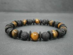 Bracelet pour homme Lave et oeil de tigre