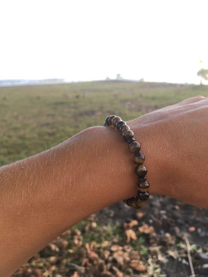Bracelet mixte en pierres semi-précieuses œil de tigre
