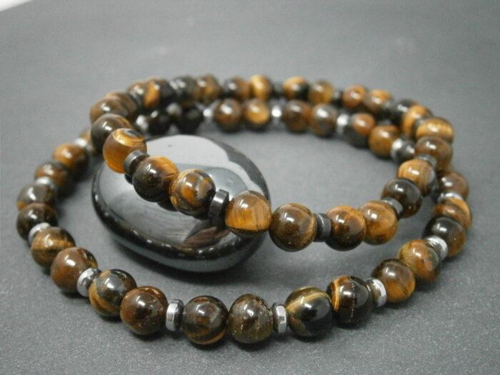 Bracelets pour Homme oeil de tigre et hématite