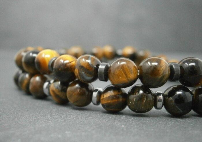 Bracelets pour homme et femme en pierres naturelles d'œil du tigre