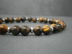 Bracelet mixte en pierre d'œil de tigre et hématite argentée
