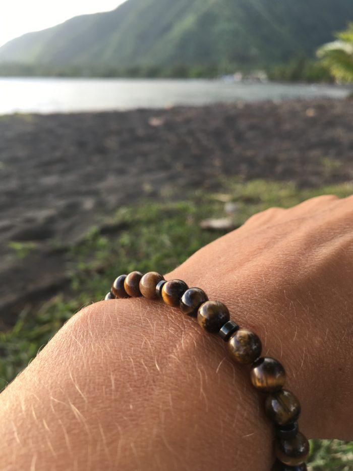 Bracelet en pierres d'œil de tigre pour femme et homme