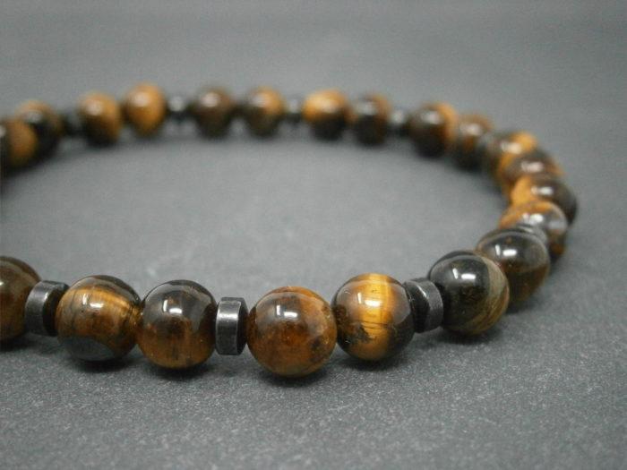 Bracelet mixte en pierres semi-précieuse d'œil de tigre