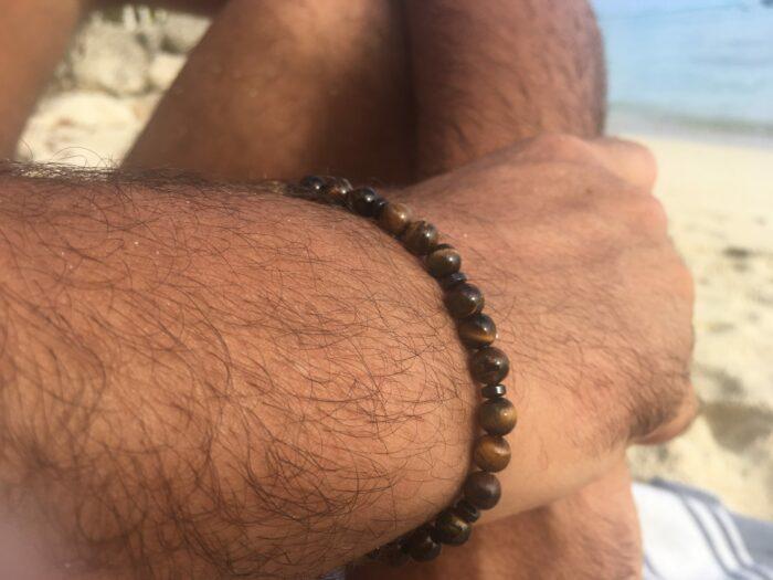 Bracelet mixte en pierres d'œil de tigre et hématite