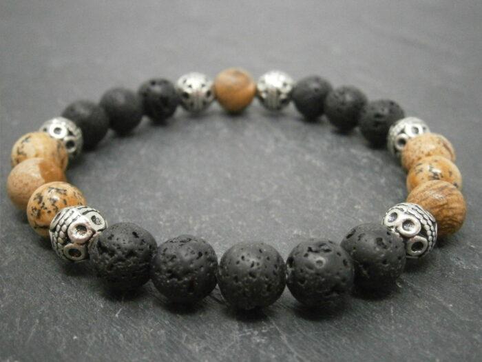 Bracelet Homme pierre de lave et jaspe paysage