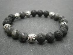 Bracelet homme pierre de lave et larvikite