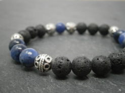 Bracelet pour homme en pierre de lave et sodalite