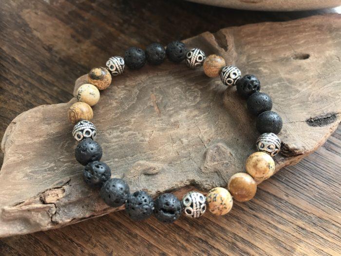 Bracelet pour homme pierre de lave et pierre jaspe paysage