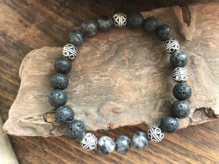 Bracelet pour homme pierre de lave et pierre labradorite noire
