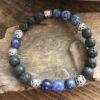 Bracelet pour homme en pierre de lave et pierre de sodalite
