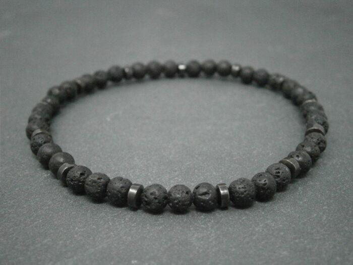 Bracelet Pierre de lave et pierre hématite