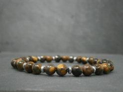 Bracelet pour Homme oeil de tigre et hématite argentée