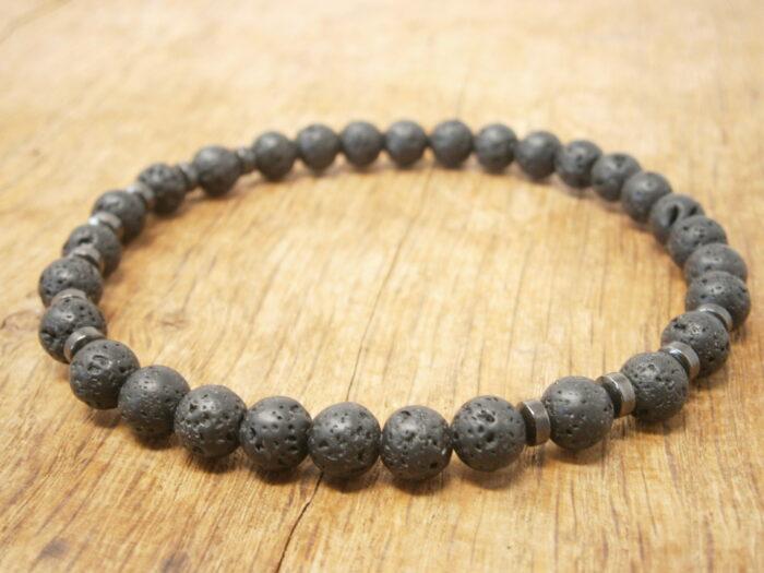 Bracelet Pierre de lave 6 mm et hématite bracelet pour femme et homme