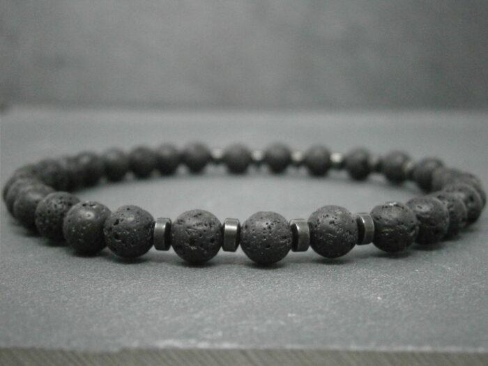 Bracelet mixte pierres de lave et pierres hématite pierres fines