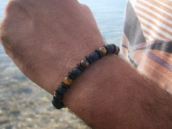 Bracelet Homme oeil de tigre, lave et bois de noix de coco
