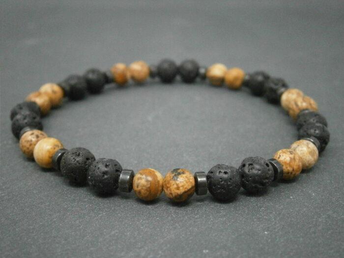 Bracelet Lave et jaspe paysage bracelet pour homme