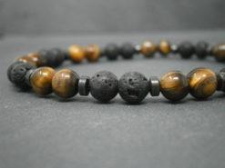 Bracelet pierres de Lave et pierres œil de tigre
