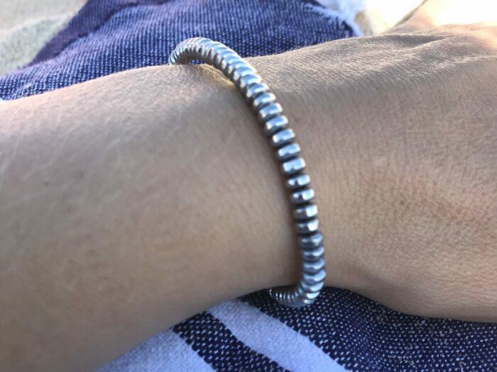 Bracelet pour elle et lui en hématite pierre grise